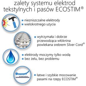 TEKSTYLNA ELEKTRODA SYSTEMOWA ECOSTIM, Z WŁÓKNINĄ PRZEWODZĄCĄ SILVER CORD, WIELOKROTNEGO UŻYCIA,  DO ELEKTROSTYMULACJI,  O WYMIARACH 11x6cm - 2