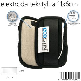 TEKSTYLNA ELEKTRODA SYSTEMOWA ECOSTIM, Z WŁÓKNINĄ PRZEWODZĄCĄ SILVER CORD, WIELOKROTNEGO UŻYCIA,  DO ELEKTROSTYMULACJI,  O WYMIARACH 11x6cm - 1