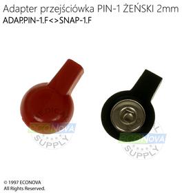 ADAPTER PRZEJŚCIÓWKA PIN-1 ŻEŃSKI 2mm (śr.zew.6,3mm)<>SNAP-1 ŻEŃSKI (śr.gniazda 3,6mm) - 2