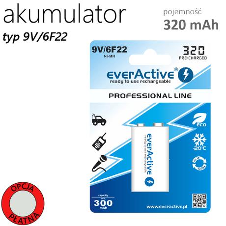 AKUMULATOR EVERACTIVE 6F22 9V 320 mAh