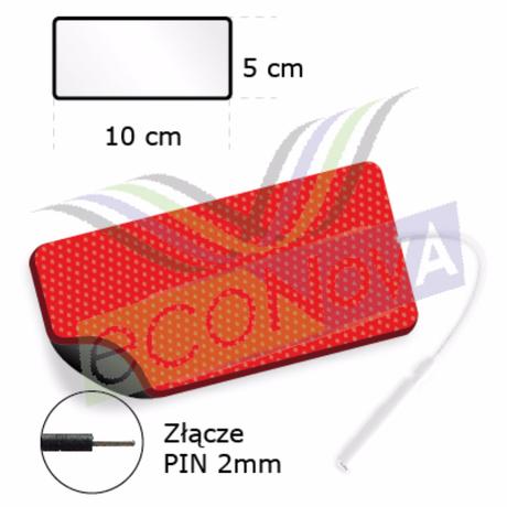 4x ELEKTRODA ŻELOWA PROSTOKĄTNA TENS/EMS/IFS/MET, (STANDARD),  ZE ZŁĄCZEM PIN.2mm.F1, O WYMIARACH 10x5cm