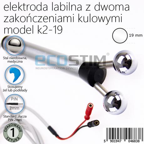 ELEKTRODA LABILNA DO ELEKTROSTYMULACJI Z DWOMA ZAKOŃCZENIAMI KULOWYMI, MODEL K2-19