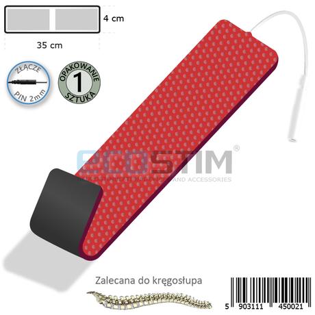 ELEKTRODA ŻELOWA PROSTOKĄTNA TENS/EMS/IFS/MET (STANDARD), ZE ZŁĄCZEM PIN.2mm.F2, O WYMIARACH 35x4cm (PODWÓJNA)