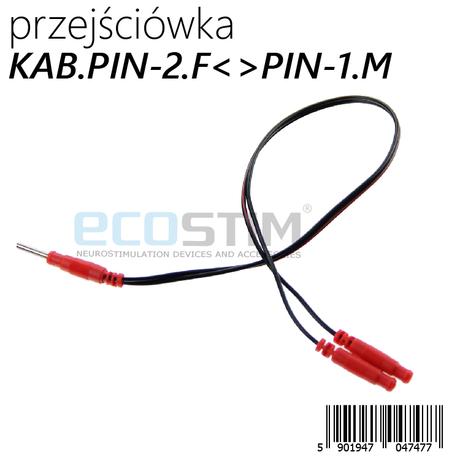 KABEL PRZEJŚCIÓWKA PIN-2 ŻEŃSKI (śr.zew.6,3mm) <> PIN-1 MĘSKI 2mm (śr.bolca 2mm)