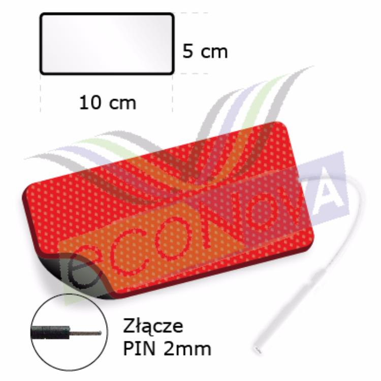 ELEKTRODA ŻELOWA PROSTOKĄTNA TENS/EMS/IFS/MET, (STANDARD),  ZE ZŁĄCZEM PIN.2mm.F1, O WYMIARACH 10x5cm