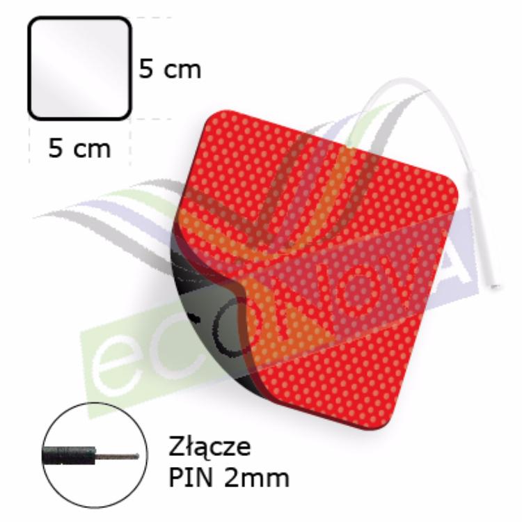ELEKTRODA ŻELOWA KWADRATOWA TENS/EMS/IFS/MET (STANDARD),  ZE ZŁĄCZEM PIN.2mm.F1, O WYMIARACH 5x5cm